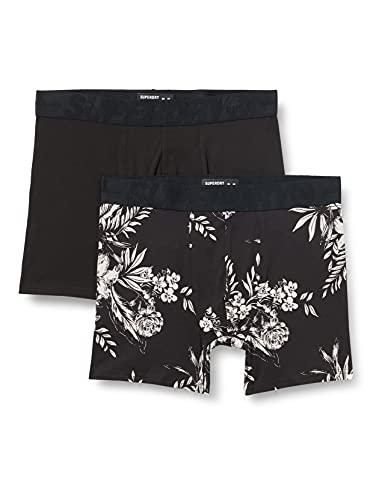 Superdry Mens M3110225A Boxer Shorts, Black AOP/Black, L