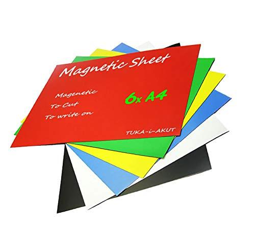 TUKA-i-AKUT 6x A4 Magnetfolie zum Beschriften und Zuschneiden, Flexibel Magnet Tafelfolie Magnetplättchen, Werbelehrmagnet Magnetische Etikett Plakat, 6er Set in 6 Farbe, TKD9040-bunt-A4-6x