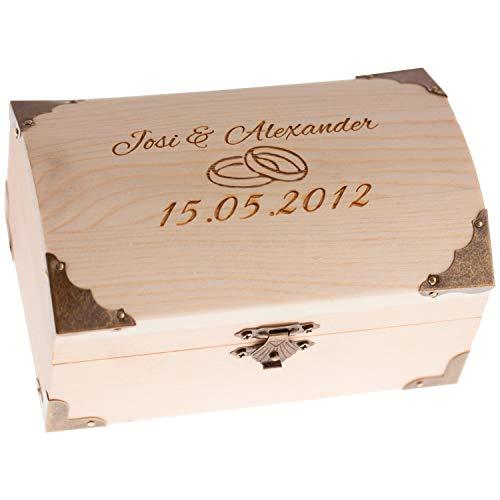 Schatkist voor bruiloft met hart gravure – huwelijkscadeau geld verpakken – houten kist gegraveerd met hart + naam en datum – persoonlijke geldgeschenken armband. Huwelijkscadeaus voor bruidspaar
