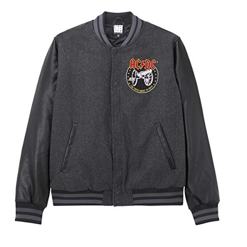 Amplified Varsity Jacket AC/DC for Those About to Rock Charcoal/Black (M, Grau)