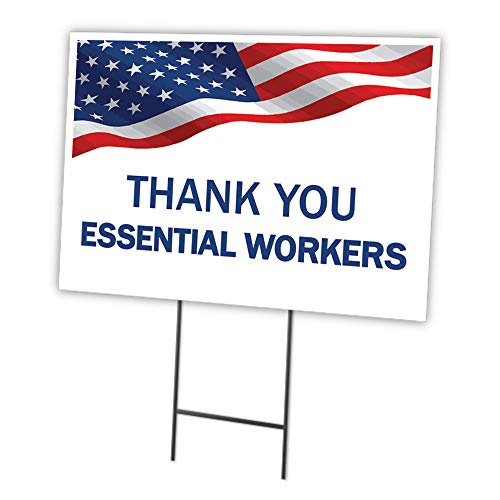 Thank You Essential Workers Flag 12' X 16' Yard Sign & Stake| Protect Your Business, Municipality, Home & Colleagues | Made in The USA