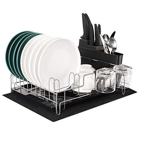 alvorog Abtropfgestell Geschirrständer Geschirrkorb mit Besteckkorb und Abtropfschale für Küche Teller und Besteck, 45x35x18.3cm