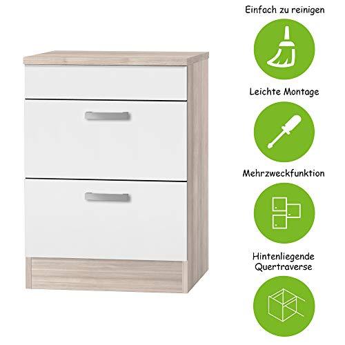 MMR Kochfeld-Unterschrank Küche DALLAS, Umbauschrank, 2 Auszüge, 60 cm breit, Weiß/Akazie Dekor