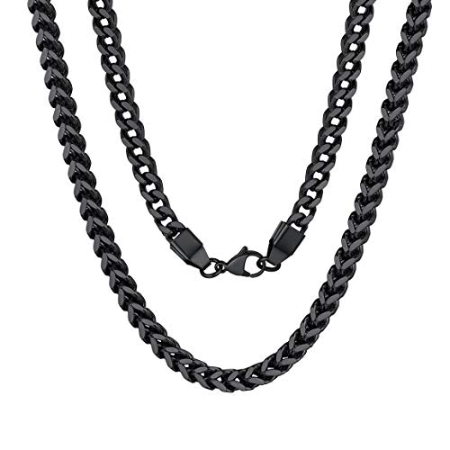Franco Gold Chain Necklace Men Women 6mm 18inch Choker Black Necklace for Men
