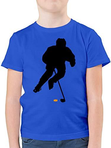 Sport Kind - Eishockey Spieler - 128 (7/8 Jahre) - Royalblau - Shirt Eishockey Junge - F130K - Kinder Tshirts und T-Shirt für Jungen