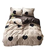 AIRCART Bedding Collection Polyester Duvet Cover Set Choco Heart Queen Size | 4 Pieces Reversible Lightweight Comforter Cover Set | 2 Pillow Case and 1 Bedspread | Breathable | Easy to Wash