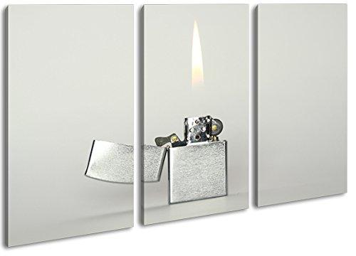 Argentato accendino Zippo come tela, motivo pronta da appendere su telaio in vero legno, stampa digitale di alta qualità con cornice, non Poster o poster, Tela, Dreiteilig (120x80)