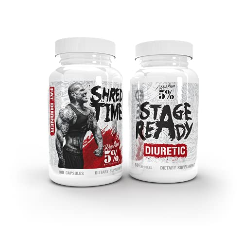 Rich Piana 5% Nutrition Double Stack | Stage Ready + Shred Time Supplement Stack | Diuretic, Metabolism Booster, Appetite Suppressant for Bodybuilding Competition, MMA, Wrestling & Boxing Weight Cut