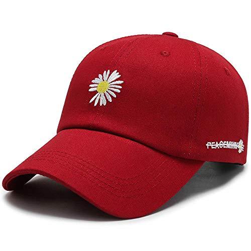 Herren Kappe Cap Casual Hut Im Freien Niedlichen Gänseblümchen Blume Schatten Baseball Rebound Bone Cap Verstellbare Sonnenhut Sport-Rot