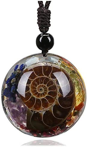 Top Plaza 7 Chakra Natural Healing Crystal Stone Pendant Necklace Adjustable Resin Ammonite product image