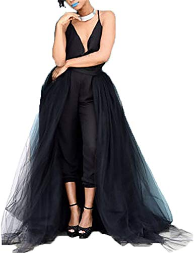 Women's Long Maxi Tulle Skirts Detachable Train High Waist Tulle Dress for Bridal Wedding Party Bridesmaid Prom Ball Black