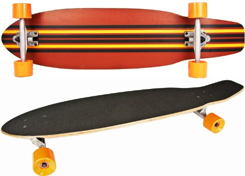 Nick and Ben Long-Board Skate-Board Holz 92cm 36 inch Komplett-Board 5 Schicht Ahorn-Holz Orange gelb schwarz High Speed Kugellager weiche Rollen Skater Cruiser