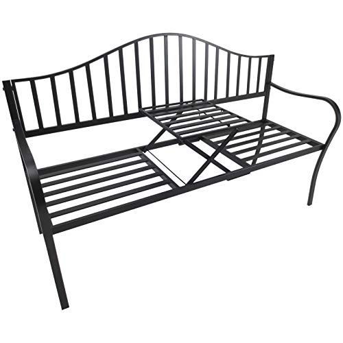 Outsunny Gartenbank 2 Sitzer Sitzbank Parkbank Metallbank Bankauflage mit Armlehne mit Klappbeistelltisch Schwarz 160 x 53 x 95 cm