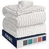 Nestl Bedding Cut Plush Blanket - King Size - Lightweight Super Soft Fuzzy Luxury Bed Blanket for Bed - Machine Washable - (90x108) (White)