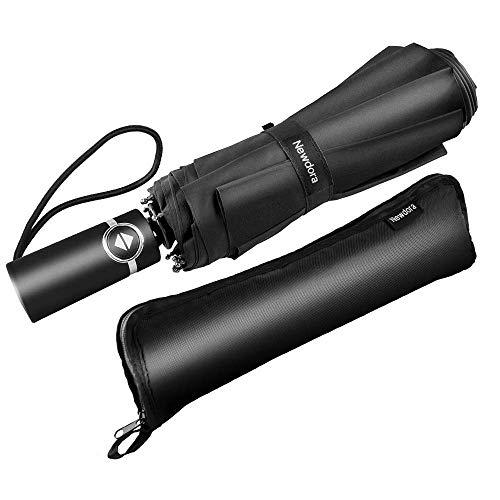 Newdora Paraguas Plegable Automático Negro Impermeable 10 Armazones de...