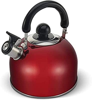 ELITRA Whistling Tea Kettle - Stainless Steel Tea Pot with Stay Cool Handle - 2.6 Quart / 2.5 Liter - (RED)