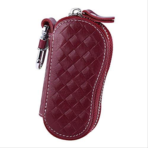 Funda Clave Wbdd Cuero Llavero Titular Organizador Monedero Coche Automobie Key Pouch rojo1