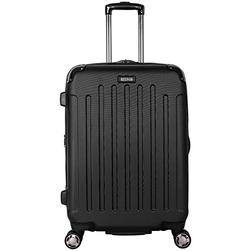 """Kenneth Cole Reaction Renegade 24"""" Lightweight Hardside Expandable 8-Wheel Spinner Checked-Size Luggage, Black, inch"""