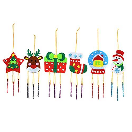 Amosfun 6 Stück DIY Kinder Windspiel Bastelset Schneemann Rentier Sterne Windspiele zum Basteln Filz Weihnachten Äolsglöckchen für Weihnachten Xmas Neujahr Party Favor Geschenk