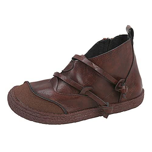 Binggong Winterstiefel Frauen Halbhoch Winterschuhe Vintage Damen Ankle Boots Klassische Damenstiefel Stiefeletten Halbstiefel Herbst Winter Knöchelstiefel Schlupfstiefel Worker Boots