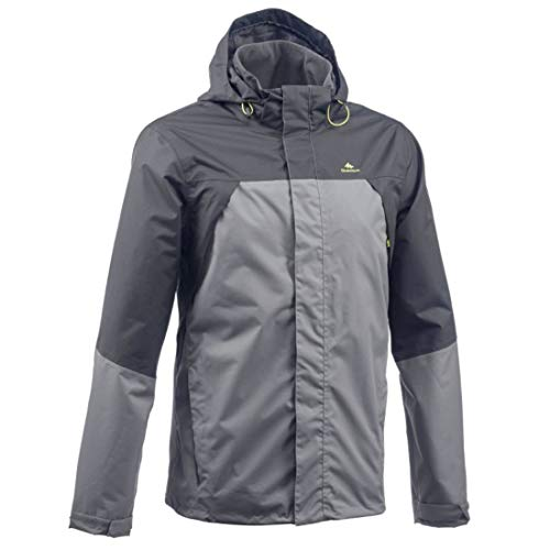 Quechua MH100 Men's Waterproof Mountain Hiking Rain Jacket - Grey Black (M)
