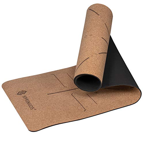 SPRINGOS Esterilla de yoga de corcho con estampado de mandala, 185 x 61 cm, 6 mm de grosor, hipoalergénica, ecológica, antideslizante, de doble cara, para entrenamiento, fitness, gimnasio