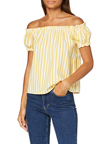 VERO MODA Damen VMHELENMILO Off Shoulder TOP Stripe WVN Bluse, Placid Blue, M