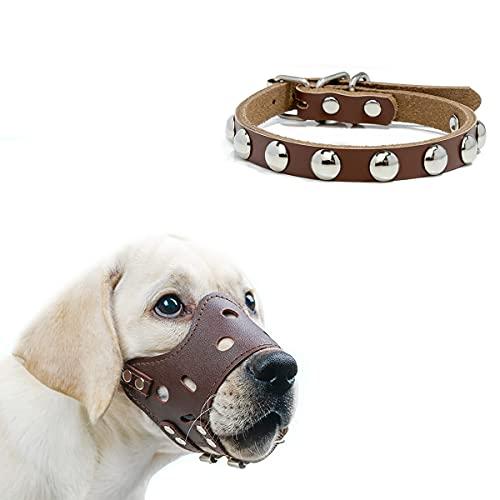 JYOKK Bozal para Perros Bozal Perro Anti-Mordedor Fit Bozal para Perros Malla Transpirable con Forma de Boca para Perros,Usado con Collares (Marrón)