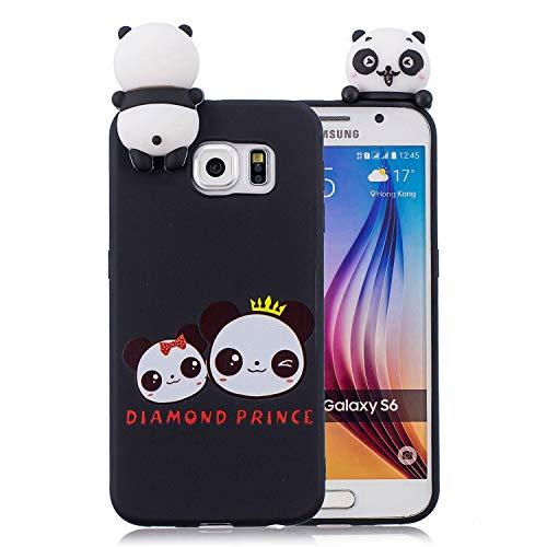 Huiran Galaxy S6 Edge Hülle - Handyhülle für Samsung Galaxy S6 Edge - Handy Case Cover Silikon Schutzhülle - Panda mit Krone Design