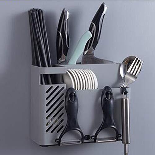 AKlamater Estante cuadrado de acero inoxidable para secado de vajilla con ganchos, para cuchara, cuchillo y tenedor, organizador multifuncional (gris)