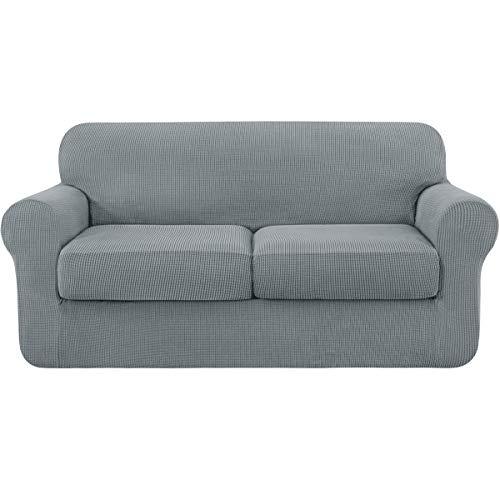 Subrtex Sofabezug, ausziehbar, mit 2 Sitzkissen, Schutz für Sofa mit elastischen Armlehnen (2-Sitzer, hellgrau)
