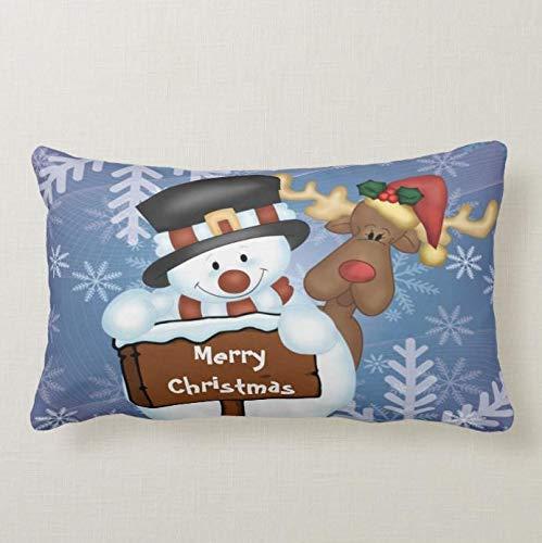 Perfecone Home Improvement - Funda de almohada para sofá y coche, diseño de muñeco de nieve y reno, 1 paquete de 50 x 65 cm