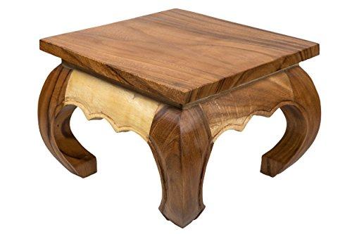 Kleiner Opiumtisch 35x35x30 cm Massivholz Handarbeit, Natur. Als Beistelltisch, Hocker oder Tisch für Pflanzen