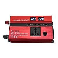 電源インバーター、車の電源コンバーター充電器DC 12V / 24VからAC 220V正弦波インバーター電圧トランスアダプター、LEDディスプレイ、トラックキャンプ用4 USBポート,5000w