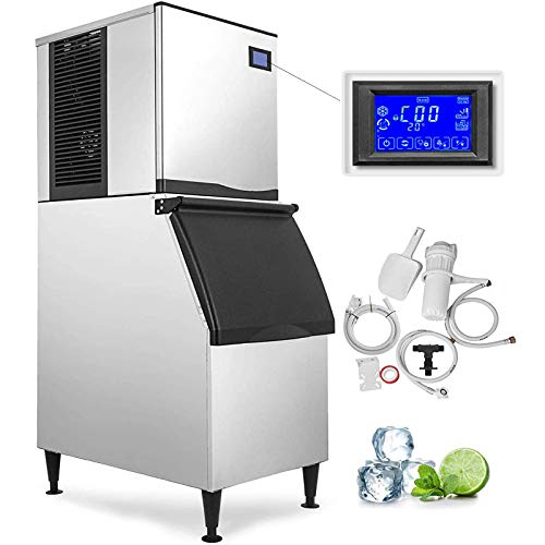 VEVOR 110V Commercial Ice Maker 400LBS/24H with 350LBS Bin, Full Clear Cube, LCD...