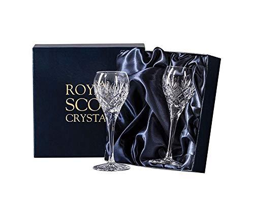 Royal Scot Crystal Port Sherry Gläser Edinburgh Set von 2 Kristallglas | Bleifreie Kristall Likörgläser