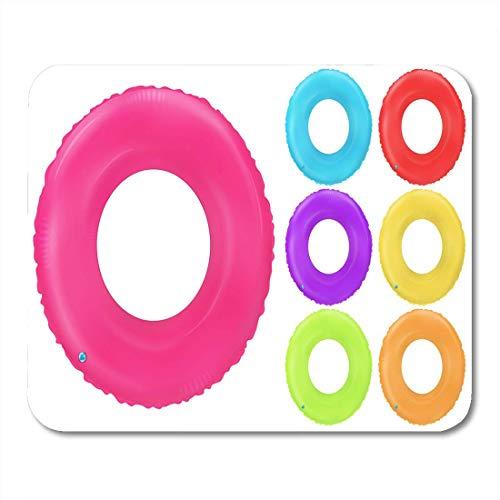 Mauspads Schwimmringe Aufblasbares Gummi Spielzeug Rettungsring Bunte Sammlung Realistische Mauspads für Notebooks, Desktop-Computer Matten Büromaterial