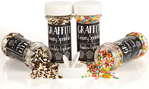 Chocolate Explosion Graffiti Sprinkles (4.2 oz) and Rainbow Explosion Graffiti (4.2 oz) Edible Decorations for Baking, Ice Cream, Cake Decorating   2-Pack