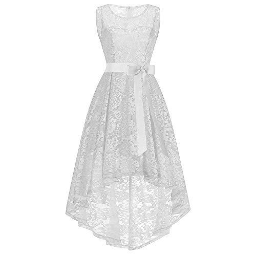 ESAILQ Damen Kleider Damen ÄRmellose Formale Damen Hochzeit Brautjungfer Spitze Langes Kleid(XX-Large,Weiß)