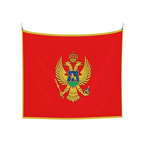 Tapisserie Flagge von Montenegro, Wandbehang, Boho, beliebt, mystisch, Trippy, Yoga, Hippie, Wandteppiche für Wohnzimmer, Schlafzimmer, Schlafsaal, Heimdekoration, schwarz & weiß Stranddecke