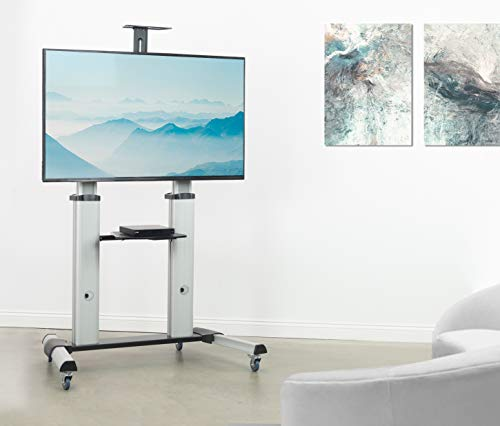 VIVO Ultra Heavy Duty Mobile 60 to 100 inch TV Stand for Flat Screens, Adjustable, Rolling TV Cart Mount with Wheels STAND-TV22S