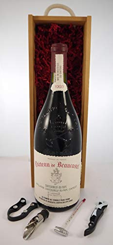 Chateauneuf Du Pape 1993 Chateau de Beaucastel MAGNUM en una caja de regalo con cuatro accesorios de vino, 1 x 1500ml