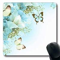 マウスパッド花弁花バタフライブルーアジサイシングルホワイトアイリス自然黄色楕円形7.9 X 9.5インチ長方形ゲームマウスパッド滑り止めラバーマット