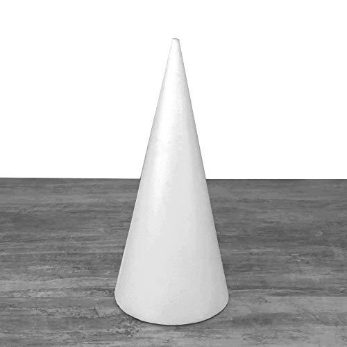 Lealoo Cone en polystyrène Plein, Hauteur 40 cm, Présentoir à Macarons, Diamètre de Base 18 cm, Styro Blanc