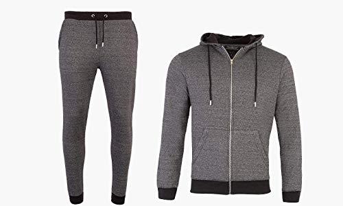 KIKFIT - Tuta Intera da Uomo con Cappuccio, Pantaloni Maglione, Jogging, Palestra, Abbigliamento Casual Melange L