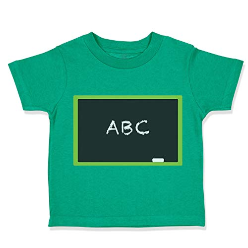 Custom Toddler T-Shirt Blackboard ABC Teacher School Education Cotton Boy & Girl Clothes Funny Graphic Tee Kelly Green Design Only 3T