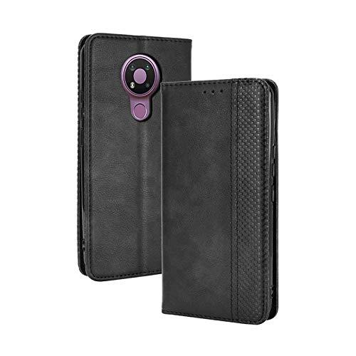 TOPOFU Leder Hülle für Nokia 3.4, Premium Flip Wallet Tasche mit Ständer & Kartenfächer, PU/TPU Magnetic Lederhülle Handyhülle Schutzhülle für Nokia 3.4 (Schwarz)