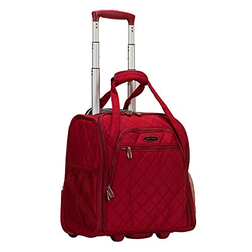 Rockland Melrose Upright Wheeled Underseater Carry-On Luggage, Red, 16-Inch