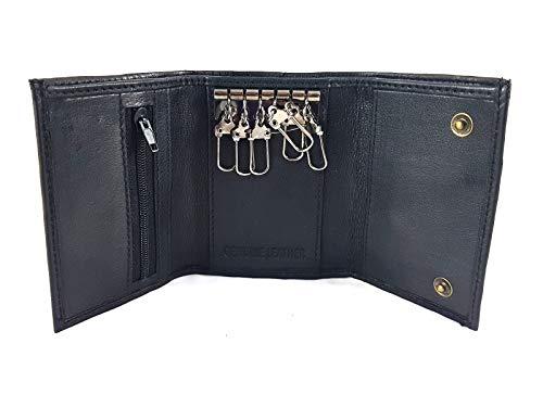 Black Leather Key Holder/Key Case Wallet Key Ring Soft Nappa Leather
