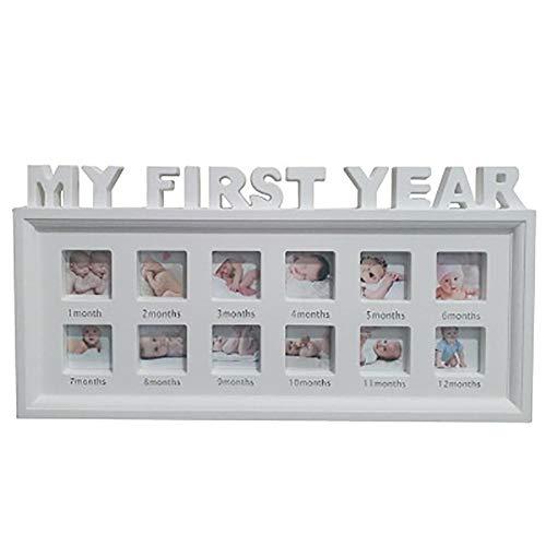 Première année bébé Cadre photo Plaqué argent 12 mois baptême cadeau nouveau-né nouveau